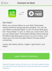 WEMO to Nest Thermostat Selection from WEMO App