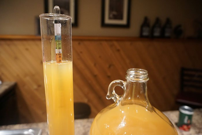 a hydrometer floating in a sample of sweet cider