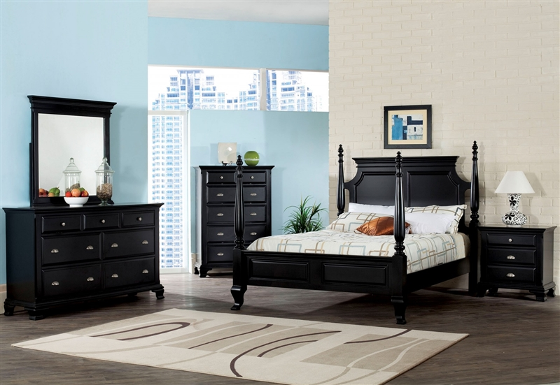 canterbury poster bed 6 piece bedroom set in black finish by acme 10430