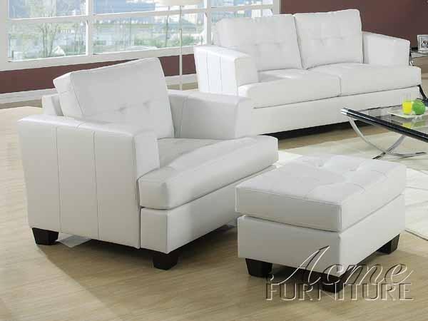 Diamond White Leather Sleeper Sofa By Acme 15062