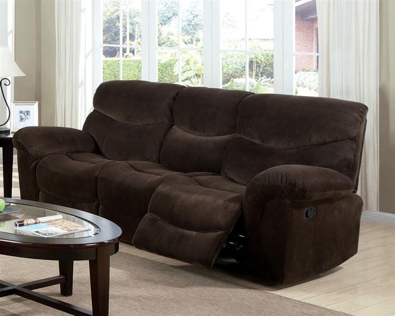 loakim chocolate microfiber reclining sofa by acme 50480