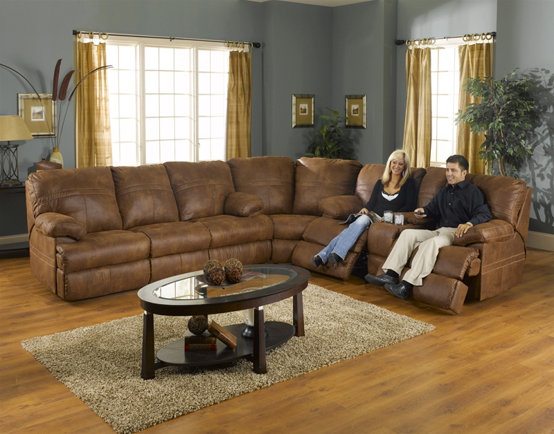 ranger 3 piece manual recline sectional with queen sleeper in tanner fabric cover by catnapper 3791 tan secq