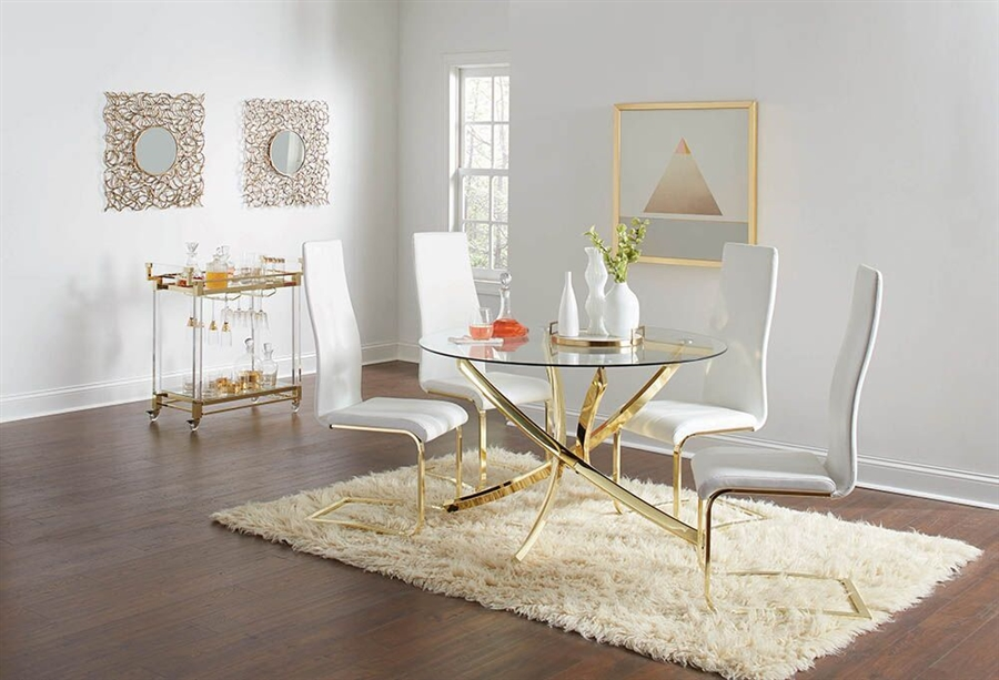 chanel 5 piece dining table set in brass finish by coaster 108441