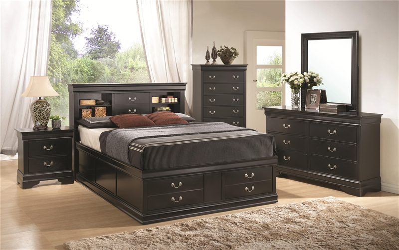 louis philippe storage bed 6 piece bedroom set in black finish by coaster 201079