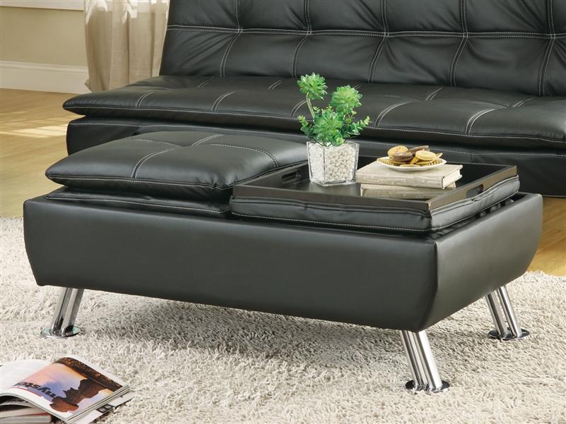 black leather like vinyl storage ottoman by coaster 300283