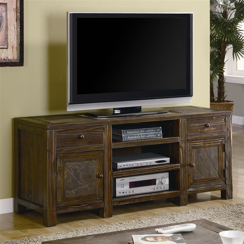 60 Inch Tv Stand In Distressed Brown Oak Finish By Coaster