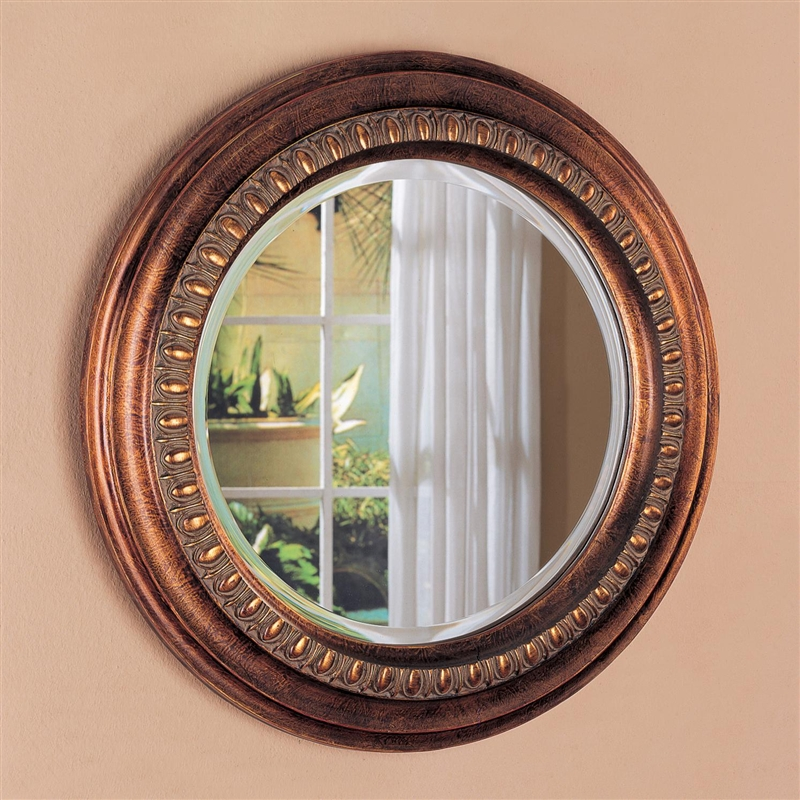 Bronze Finished Frame Round Accent Mirror By Coaster 900198