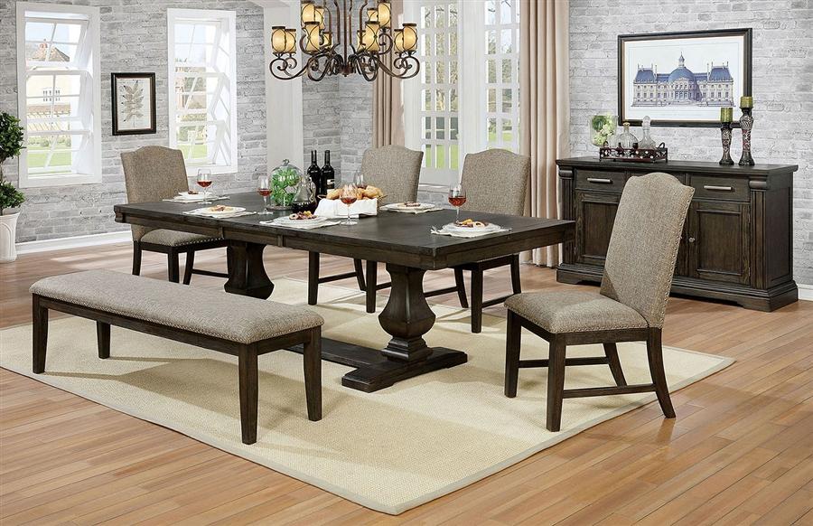 faulk 7 piece dining room set in espresso finish by furniture of america foa cm3310