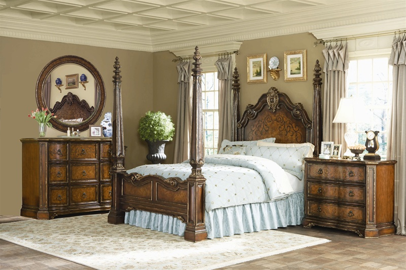 beladora poster bed 6 piece bedroom set in caramel with gold tipping finish by hooker furniture hf 698 90 007