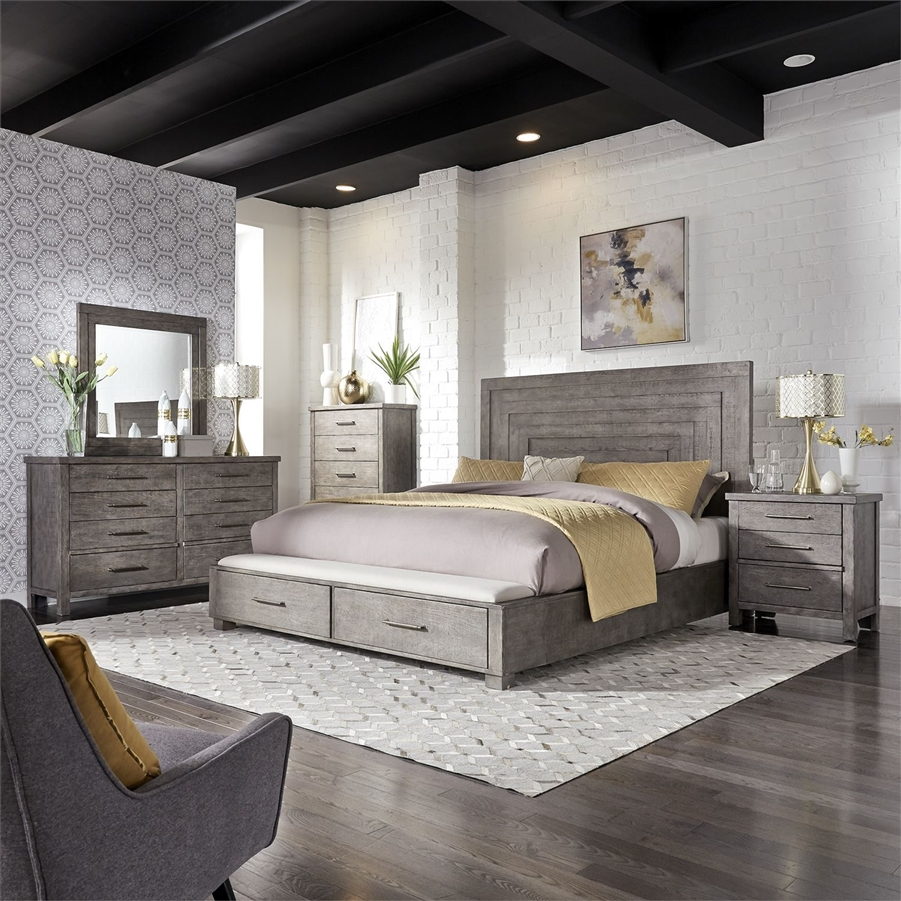 modern farmhouse storage bed 6 piece bedroom set in distressed dusty charcoal finish by liberty furniture 406 br qsbdmn