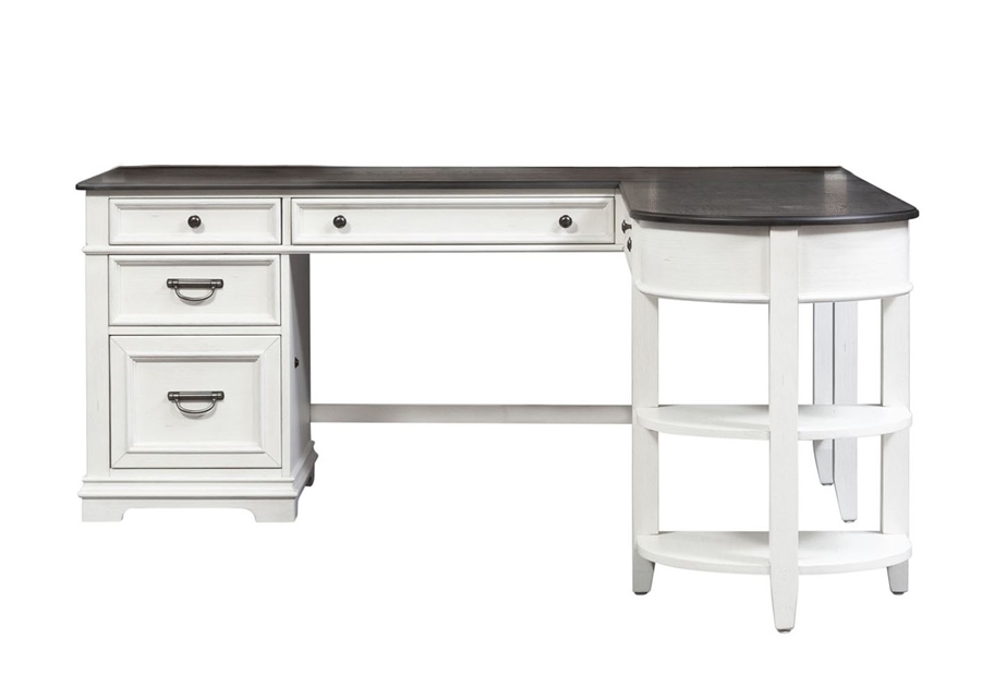allyson park l shaped desk in wirebrushed white finish by liberty furniture 417 hoj d