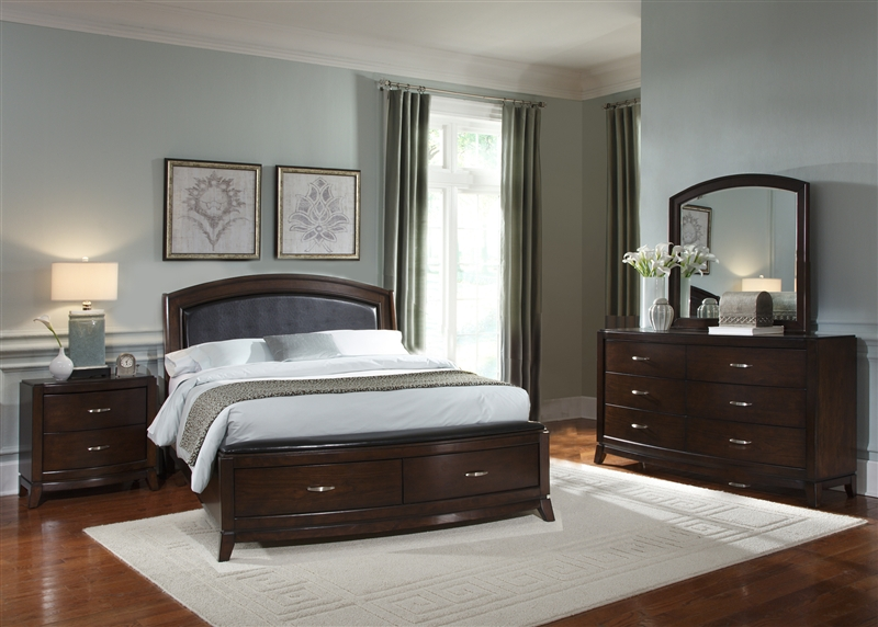 Avalon Upholstered Storage Bed 6 Piece Bedroom Set In Dark