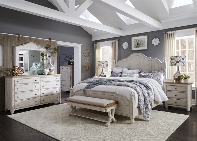 messina estates ii poster bed 6 piece bedroom set in antique ivory finish by liberty furniture 837 br