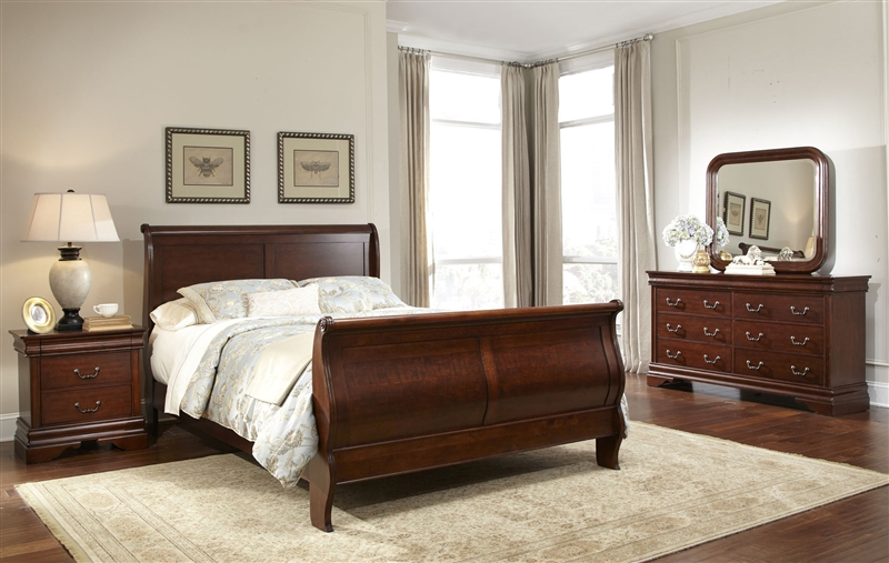 carriage court sleigh bed 6 piece bedroom set in mahogany stain