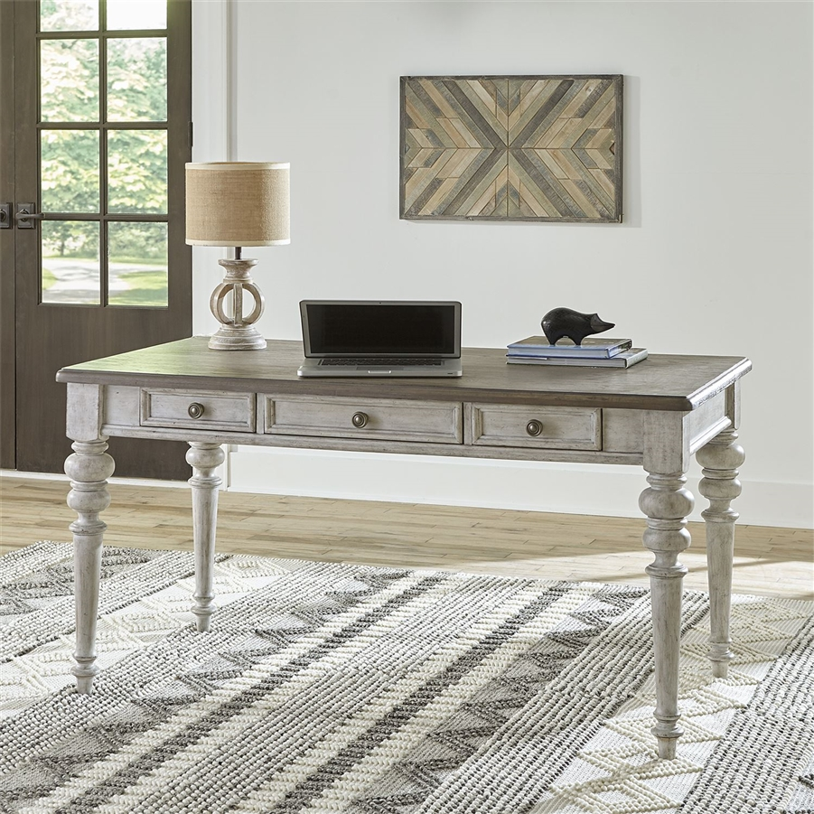 heartland writing desk in antique white finish with tobacco tops by liberty furniture 824 ho107