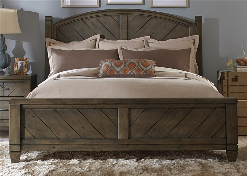 modern country poster bed 6 piece bedroom set in smokey pewter finish by liberty furniture 833 ps