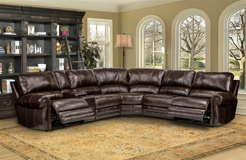 thurston 6 piece power reclining sectional in havana leather by parker house mthu packm ha