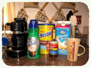 Ingredients for Almond Milk, Irish Cream, Hazelnut Mocha
