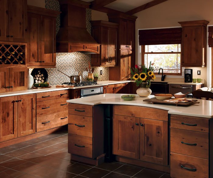 rustic hickory kitchen cabinets 2 How To Install Kitchen Base Cabinets