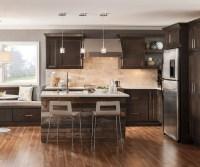 Verano - Flat Panel Cabinet Doors - Homecrest Cabinetry on Dark Maple Cabinets  id=94983