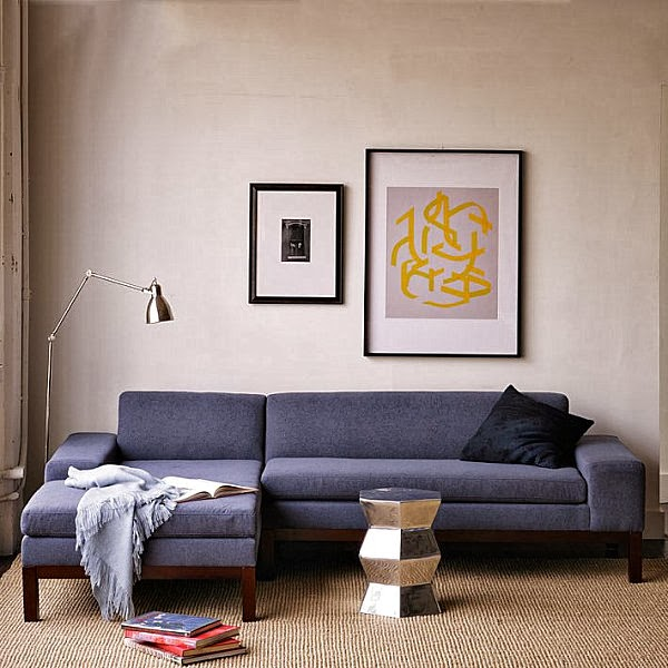 Modern Cozy Blue Sectional Sofa
