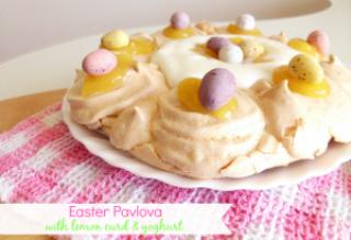 Easter Pavlova with Lemon Curd and Yoghurt | www.pinkrecipebox.com