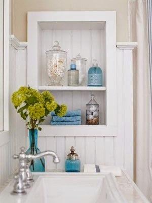 Open Shelves in bathrooms