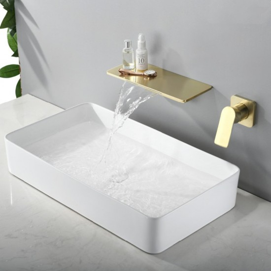 brushed gold waterfall bathroom sink faucet 1 handle wall mount lavatory faucet mixer tap solid brass