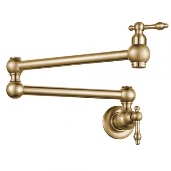 kitchen sink brass wall mount single hole two handle pot filler folding faucet brushed gold finish