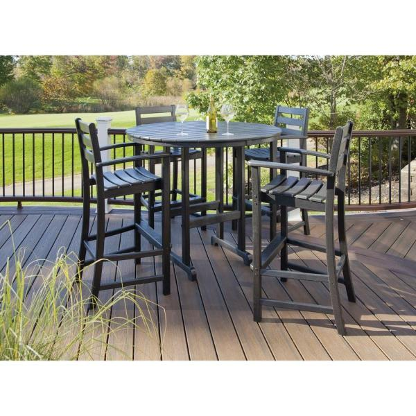 outdoor patio bar sets furniture Trex Outdoor Furniture Monterey Bay Charcoal Black 5-Piece