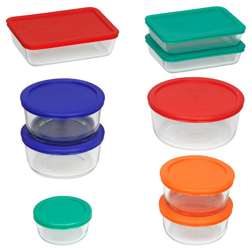 18-Piece Glass Mixing Bowl and Bakeware Set with Assorted Color Lids