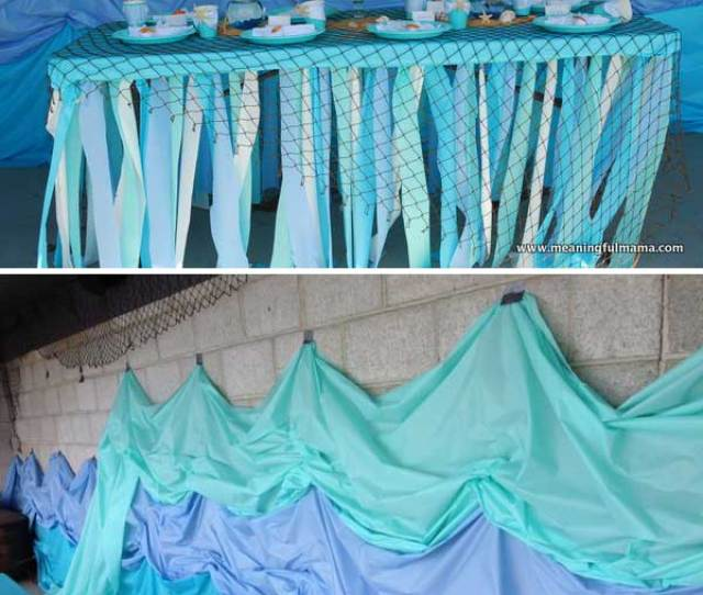 Bring The Feel Of Under The Sea To Party Home By Using Blue Cellophane To Cover Windows And Adding Underwater Creatures