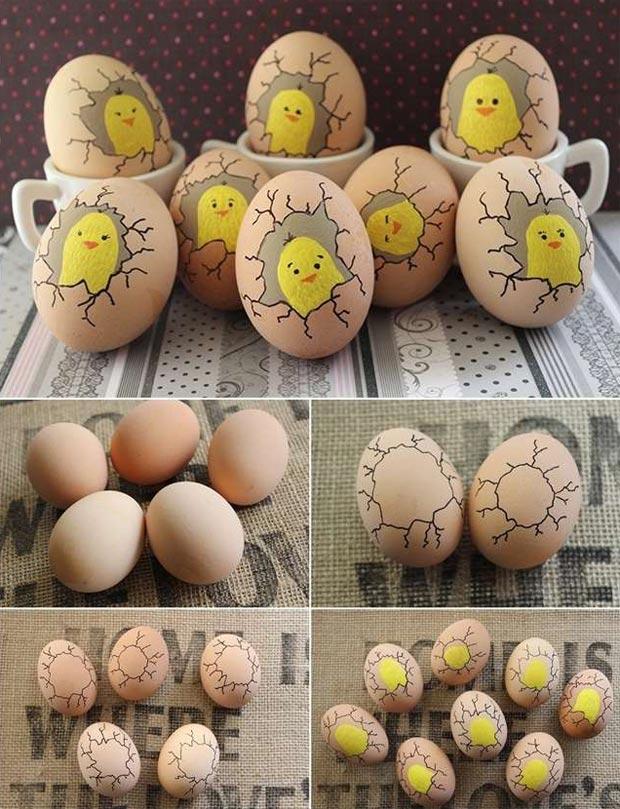Paint Cute Chicks Inside Eggs