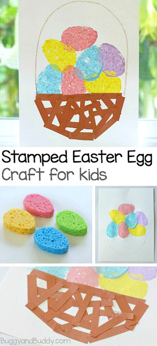 Sponge Painted Easter Egg Basket