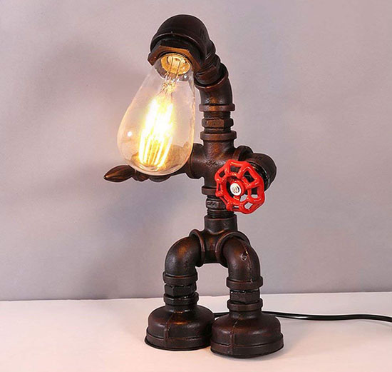 Frideko Retro Industrial Robot Table Lamp Made of Iron Water Pipes