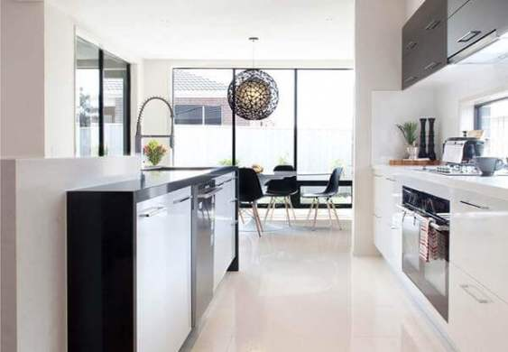 36 Kitchen Floor Tile Ideas  Designs and Inspiration June 2017     A perfect study of calm monochrome design is completed with these glossy  off white tiles  Source
