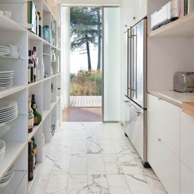 36 Kitchen Floor Tile Ideas  Designs and Inspiration June 2017     White marble tiles add to the light and airy feel in this compact kitchen