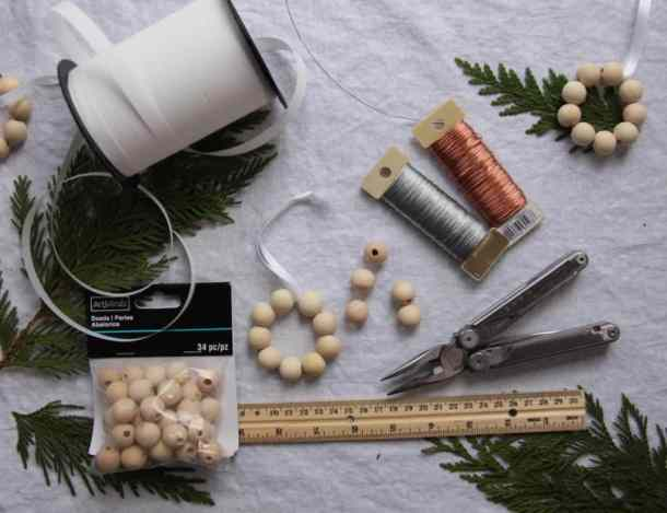 Supplies for Making Birch Bead Christmas Ornaments   Home for the Harvest