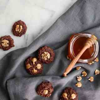 GF Chocolate Walnut Cookies Sweetened with Honey | Home for the Harvest