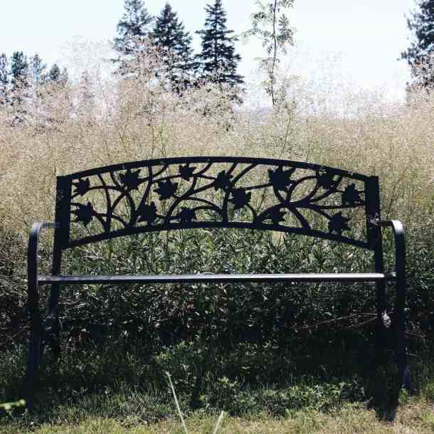 black iron meditation garden bench surrounded by ethereal white baby's breath flowers