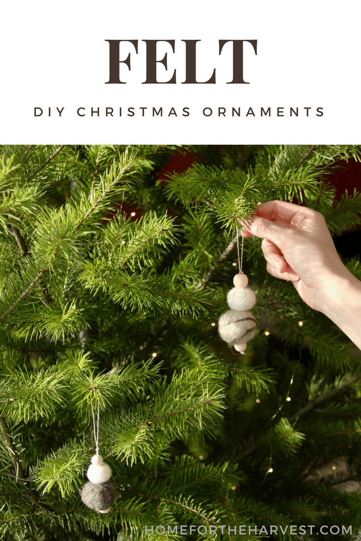 SO cute! And it was easy too. A little bit of effort goes along way with these felted Christmas ornaments. Learn how to make felt ornaments that are perfect for a simple nordic Christmas! #nordicChristmas #ScandinavianChristmas #MinimalistChristmas #FeltedOrnaments