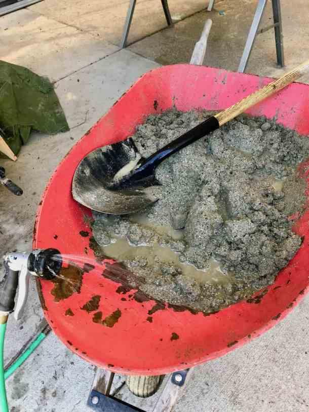 Mixing concrete to make DIY concrete furniture