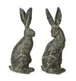 Set of 2 Springtime Garden Weathered Chiseled Easter Bunny Rabbit Statues 16""