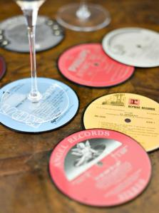 Unusual vintage record label coasters