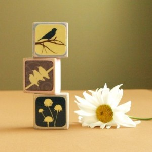 Handmade bird art blocks