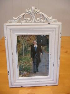 White rococo style photo frame