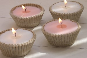 Pink and white cupcake candles