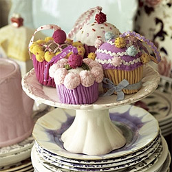 Knitted cupcake decorations
