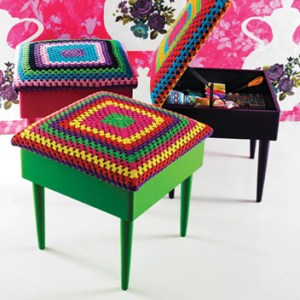 Crochet storage stool from Plumo