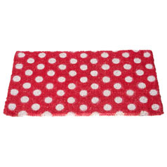 Red polka dot doormat from Oliver Bonas
